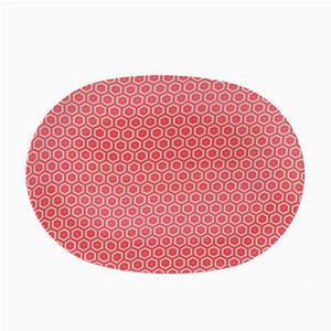Piatto Ovale in melamina MIELE 34x24xh2,2 cm - Bpa Free decoro in tessuto (bees) Rosso