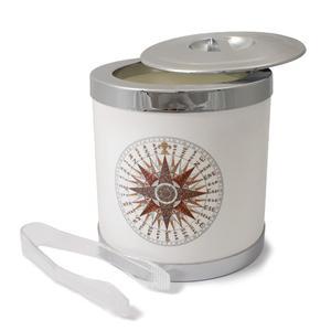 Secchio per Ghiaccio Rosa dei Venti con coperchio e pinza, diam. 16,3 cm / H 18 cm Colore: Bianco