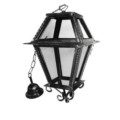 Lanterna doppi vetri con catena In ferro Battuto 28x28xh49cm interno esterno, con vetri e impianto colore nero