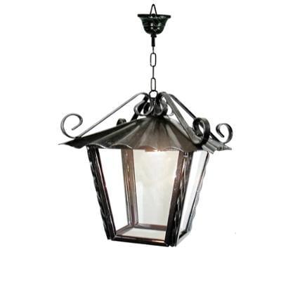 Lanterna da soffitto con catena In ferro Battuto 27x27xh28 cm interno esterno con vetri e impianto colore nero