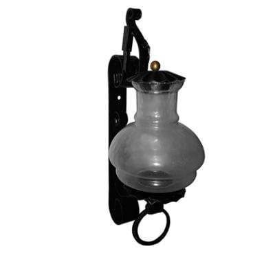 Applique Migani In ferro Battuto h47 cm interno esterno, con vetri e impianto colore nero