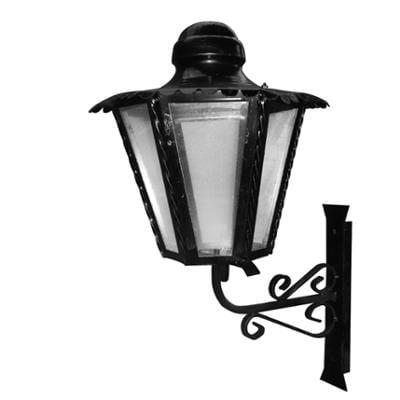 Lampada esagonale In ferro Battuto 35x21xh58cm interno esterno, con vetri e impianto colore nero