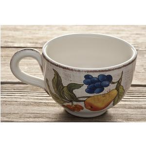 Tazza da colazione in ceramica da 17x8,5 cm decoro Frutta Antica