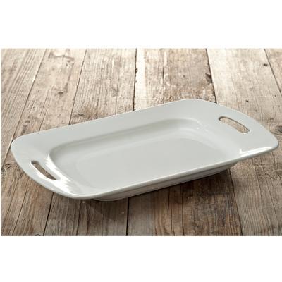 Vassoio rettangolare con manici , da portata 36xh24xh5,5 cm In ceramica Bianca bordo doppio TORINO - decoro bianco panna