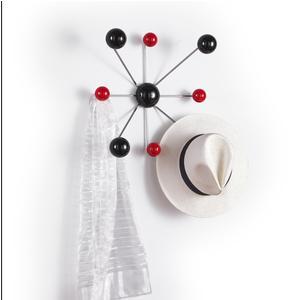 Appendino attaccapanni 8 pomelli Globo 51x51xh15 cm in struttura laccata bianco pomelli rosso nero