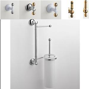 Asta attrezzata WC ZACINTO 18x14xh52 cm Porta scopino in ceramica + porta asciugamani