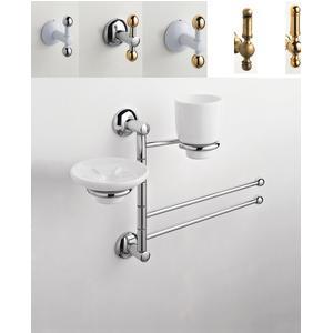 Asta attrezzata Lavabo ZACINTO 44x14xh60 cm Porta sapone + Portabicchiere in ceramica + porta asciugamani