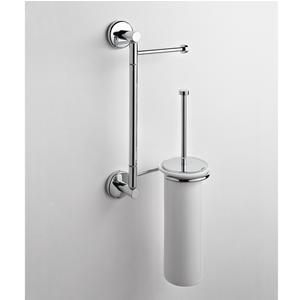 Asta attrezzata WC porta scopino e asciugamani IDA 18x16xh52 cm finitura inox lucido