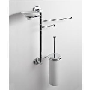 Asta attrezzata WC, Bidet porta scopino portasapone e asciugamani IDA 44x16xh60 cm finitura inox lucido