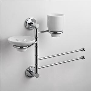 Asta attrezzata per lavabo portasapone, portabicchiere e asciugamani IDA 44x16xh30 cm finitura inox lucido