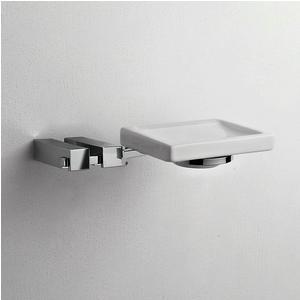 Porta Sapone singolo appeso CIPRO 18x12xh4 cm finitura cromo lucido e contenitore in ceramica fissaggio a vite e stop