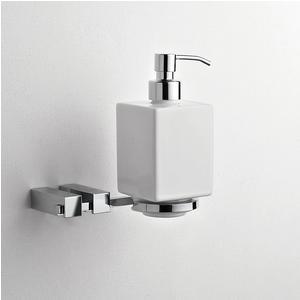 Porta Dispenser da appendere in Ceramica CIRPO 14x12xh16 cm Fissaggio a viti e stop contenitore in ceramica