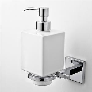 Porta Dispenser in Ceramica fissaggio a viti e Stop, Plano 9,5x12,5xh18,5 cm cromo lucido e ceramica