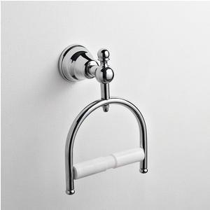 Porta carta igienica da bagno OMEGA 15x9xh21 cm finitura cromo lucido fissaggio a vite e stop