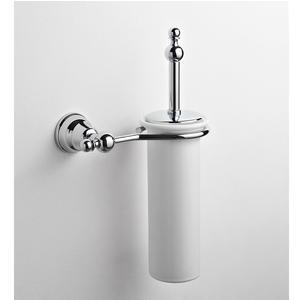Porta scopino in ceramica a muro OMEGA 22x13xh17 cm finitura cromo lucido fissaggio a vite e stop