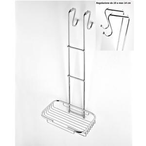 Griglia doccia rettangolare a un piano cromo 24x36,5xh68 cm con gancio regolabile da 10-14 cm
