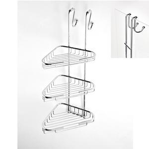 Angolare doccia a tre piani cromo 24x28xh68 cm con gancio regolabile per vetri doccia 6mm-8mm