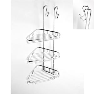 Angolare doccia a tre piani cromo 24x29xh68 cm con gancio regolabile 2,5-5 cm