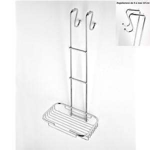 Griglia doccia rettangolare a un piano cromo 23x27,5xh68 cm con gancio regolabile da 5-10 cm