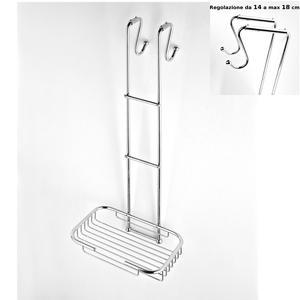 Griglia doccia rettangolare a un piano cromo 23x36,5xh68 cm con gancio regolabile da 14-18 cm