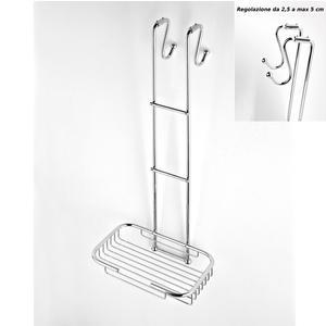 Griglia doccia rettangolare a un piano cromo 23x25xh68 cm con gancio regolabile da 2,5-5 cm