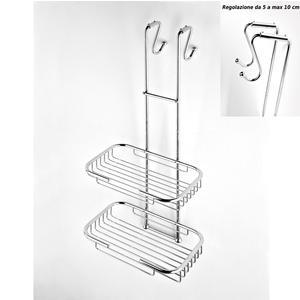 Griglia doccia rettangolare a due piani cromo 23x27,5xh68 cm con gancio regolabile da 5-10 cm