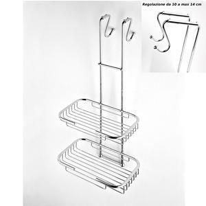 Griglia doccia rettangolare a due piani cromo 23x32,5xh68 cm con gancio regolabile da 10-14 cm