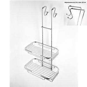 Griglia doccia rettangolare a due piani cromo 23x36,5xh68 cm con gancio regolabile da 14-18 cm