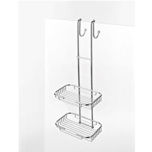 Griglia doccia rettangolare a due piani cromo 23x24xh68 cm con gancio regolabile da 6 a max 8 mm