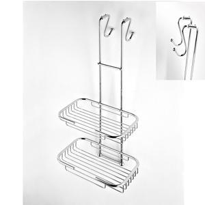 Griglia doccia rettangolare a due piani cromo 23x25xh68 cm con gancio regolabile da 2,5-5 cm