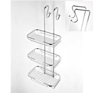 Griglia doccia rettangolare a tre piani cromo 23x32,5xh68 cm con gancio regolabile da 10-14 cm