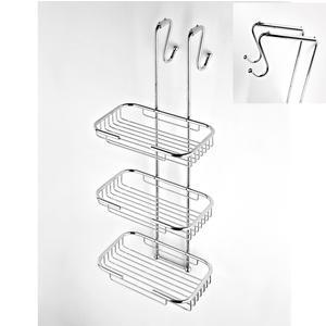 Griglia doccia rettangolare a tre piani cromo 23x36,5xh68 cm con gancio regolabile da 14-18 cm