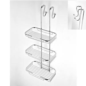 Griglia doccia rettangolare a tre piani cromo 23x25xh68 cm con gancio regolabile da 2,5-5 cm