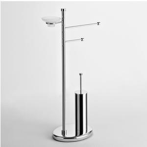 Piantana WC Bidet base ovale con Porta scopino in ottone e portasapone 41x21xh81 cm finitura cromo lucido
