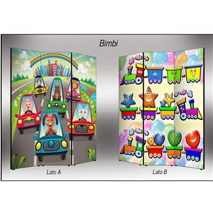 Separé Bifacciale artistico su tela 135x3,2xh176 cm Bimbi in legno multicolore eseguito a mano in Italia