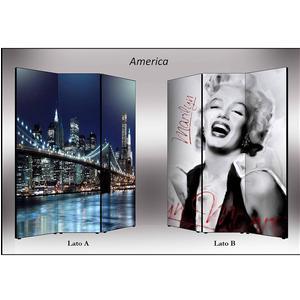 Separé Bifacciale artistico su tela 135x3,2xh176 cm America in legno multicolore eseguito a mano in Italia
