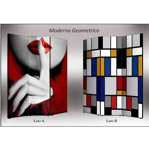 Separé Bifacciale artistico su tela 135x3,2xh176 cm Moderno geometrico in legno multicolore eseguito a mano in Italia