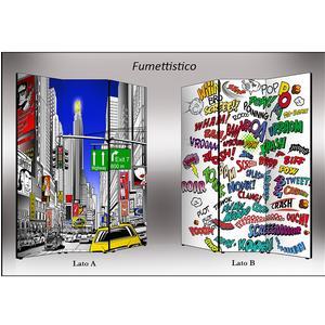 Separé Bifacciale artistico su tela 135x3,2xh176 cm Fumettistico in legno multicolore eseguito a mano in Italia