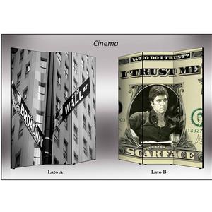 Separé Bifacciale artistico su tela 135x3,2xh176 cm Cinema in legno multicolore eseguito a mano in Italia