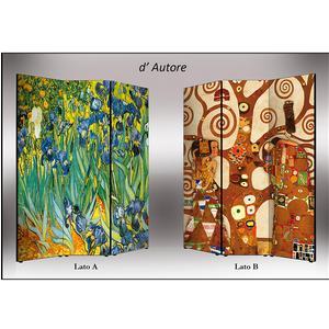 Separé Bifacciale artistico su tela 135x3,2xh176 cm D'Autore in legno multicolore eseguito a mano in Italia