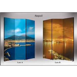 Separé Bifacciale artistico su tela 135x3,2xh176 cm Napoli in legno multicolore eseguito a mano in Italia
