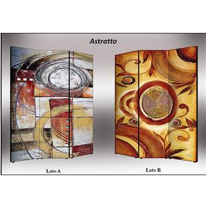 Separé Bifacciale artistico su tela 135x3,2xh176 cm Astratto in legno multicolore eseguito a mano in Italia