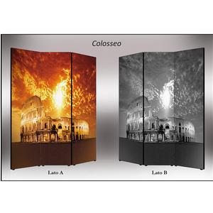 Separé Bifacciale artistico su tela 135x3,2xh176 cm Colosseo in legno multicolore eseguito a mano in Italia