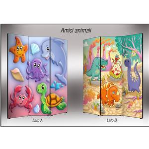 Separé Bifacciale artistico su tela 135x3,2xh176 cm Amici Animali in legno multicolore eseguito a mano in Italia