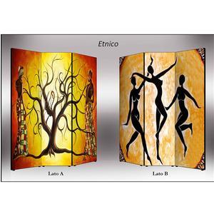 Separé Bifacciale artistico su tela 135x3,2xh176 cm Etnico in legno multicolore eseguito a mano in Italia