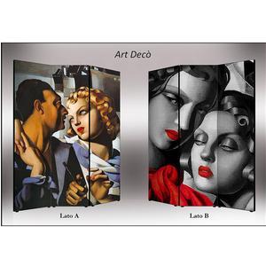 Separé Bifacciale artistico su tela 135x3,2xh176 cm Art Deco in legno multicolore eseguito a mano in Italia