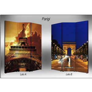 Separé Bifacciale artistico su tela 135x3,2xh176 cm Parigi in legno multicolore eseguito a mano in Italia