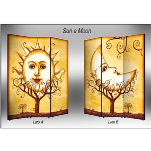Separé Bifacciale artistico su tela 135x3,2xh176 cm Sun E Moon in legno multicolore eseguito a mano in Italia