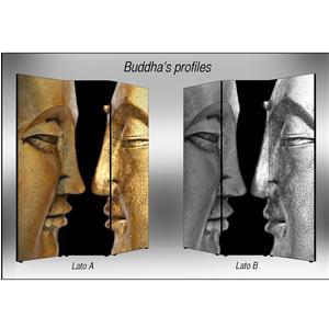 Separé Bifacciale artistico su tela 135x3,2xh176 cm Buddha's Profiles in legno multicolore eseguito a mano in Italia