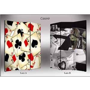 Separé Bifacciale artistico su tela 135x3,2xh176 cm Casino in legno multicolore eseguito a mano in Italia